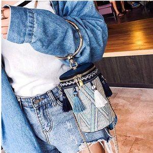 Handbags - RESTOCK Blue Tassel Bag